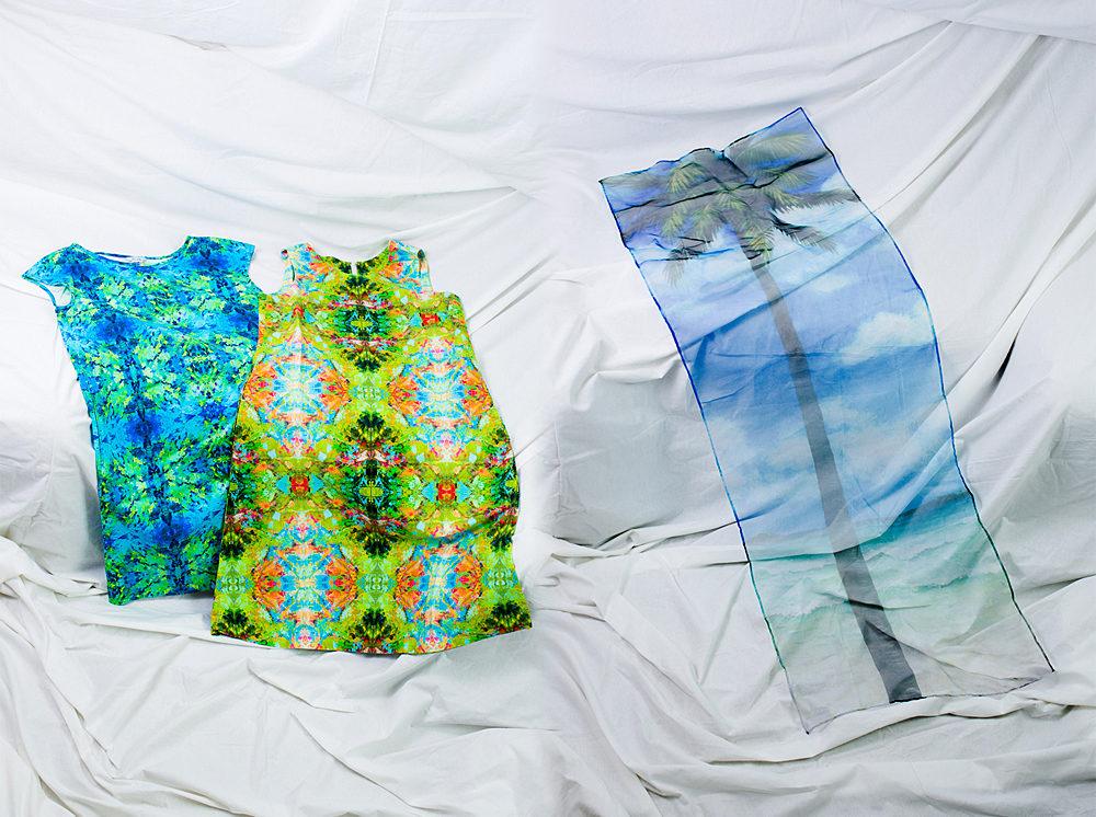 布にプリントしたり、直接描いたりした実用的な作品も。
