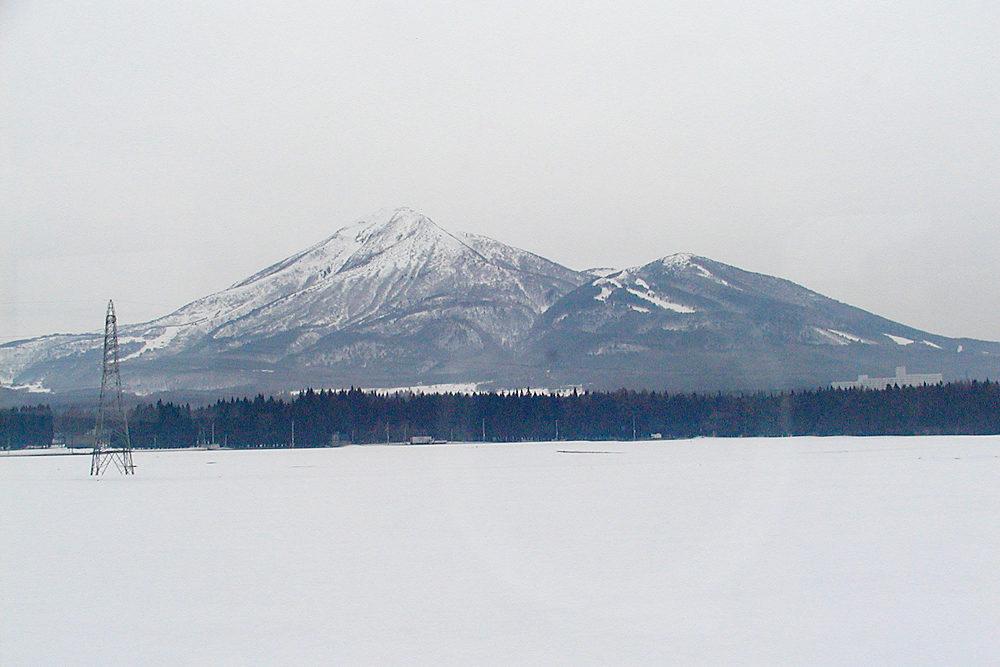 寒々しい冬の山並みが続く車窓の景色。