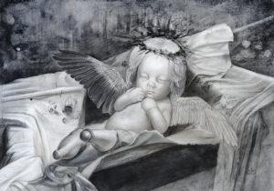 「BASTARD」2012年/鉛筆・銀筆・紙/25.7×36.5cm。異形の存在の苦難を表現した作品。