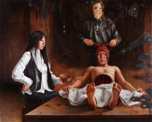 「情緒的な死と再生」2008−09年/油彩・キャンバス/130.3×162.0cm。レンブラント作「ヨアン・デイマン博士の解剖学講義」(1656年)を基に描いた作品。