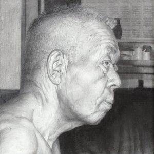 「病に倒れた祖父Ⅰ」2003年/鉛筆・パネル/22.5×22.5cm。写真とも思えるほどに緻密なタッチ。