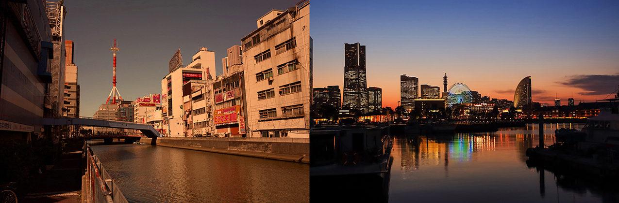 横浜みなとみらいへと至る、横浜西口方面の運河沿いの街並み。飲食街が連なる。