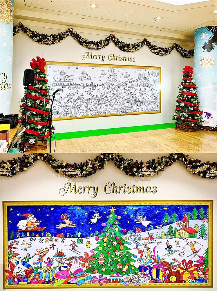 東陽町・東京イースト21でのイベント前の廣川さんの線描画と、塗り絵後の完成画。