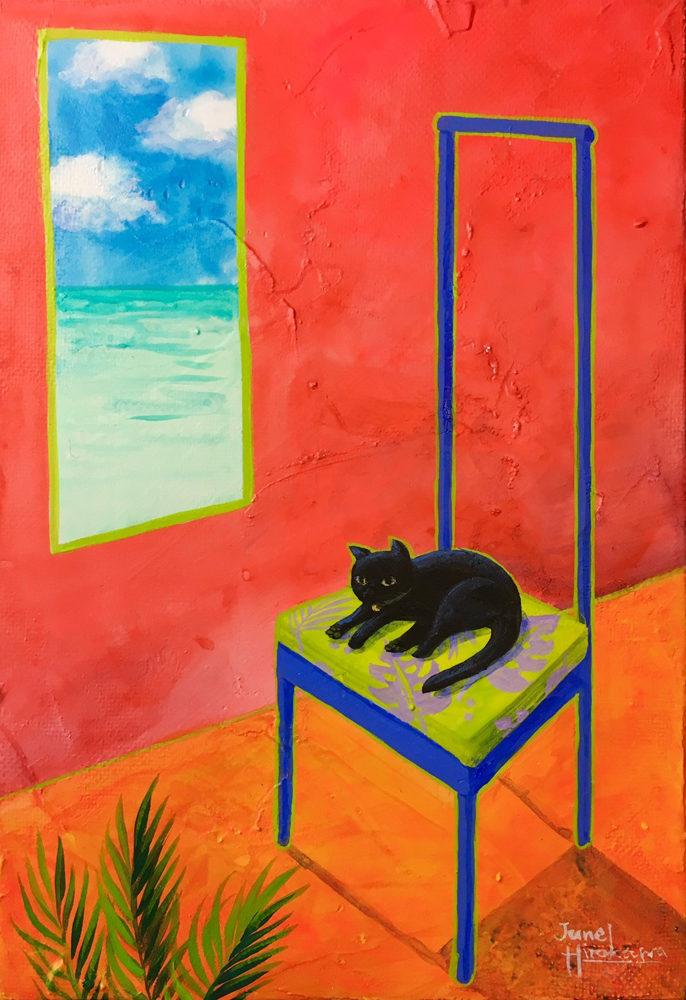 「椅子の上の猫」キャンバスにアクリル/ 227×158㎜