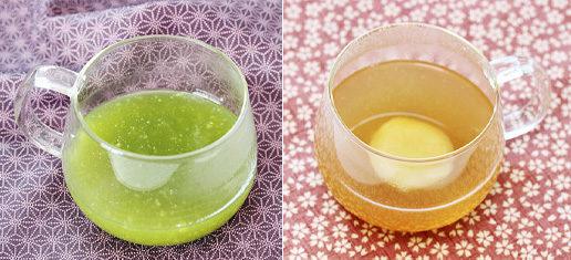身体を温めるのに大変効果的な葛根湯(かっこんとう、葛[くず]の根を主成分とした漢方薬)。葛粉にショウガを混ぜて更にポカポカに。抹茶を混ぜれば免疫力効果も。