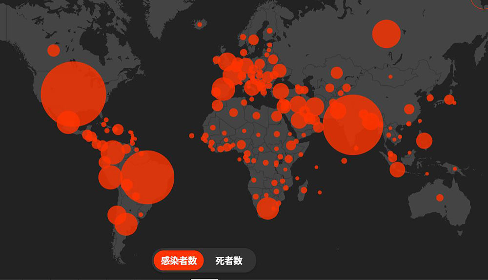 人口10万人あたり感染者数は、日本は100人を下回るが、中国や韓国を上回っている。