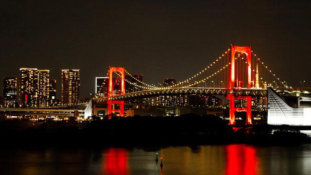東京アラートで赤く染まるレインボーブリッジ。現在、この時の何倍もの感染者数にも関わらず、当時の危機感は薄れている。